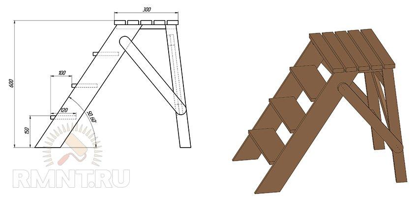 Как своими руками сделать складную лестницу 29